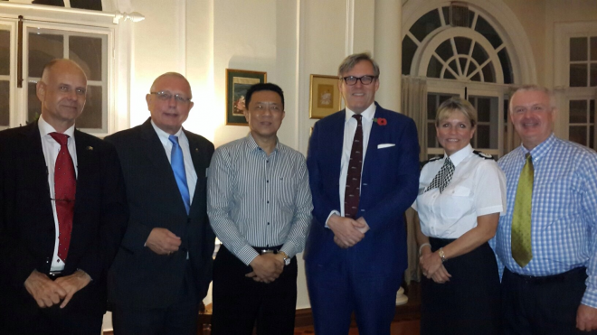 Left to Right. Peter Hazdra the EU Project Manager, Friedrich Schwindt the Team Leader, Police Col. Win Naing, Yangon Regional Police Commissioner, Mr Andrew Patrick the British Ambassador, Chief Constable Colette Paul and David Hamilton the Component Leader for Community Policing delivered by the UK.